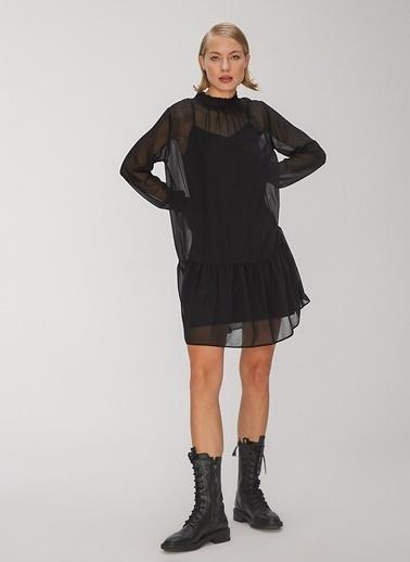 People By Fabrika Volanlı Şifon Elbise Siyah